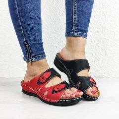 Papuci dama Iuliana Black/Red