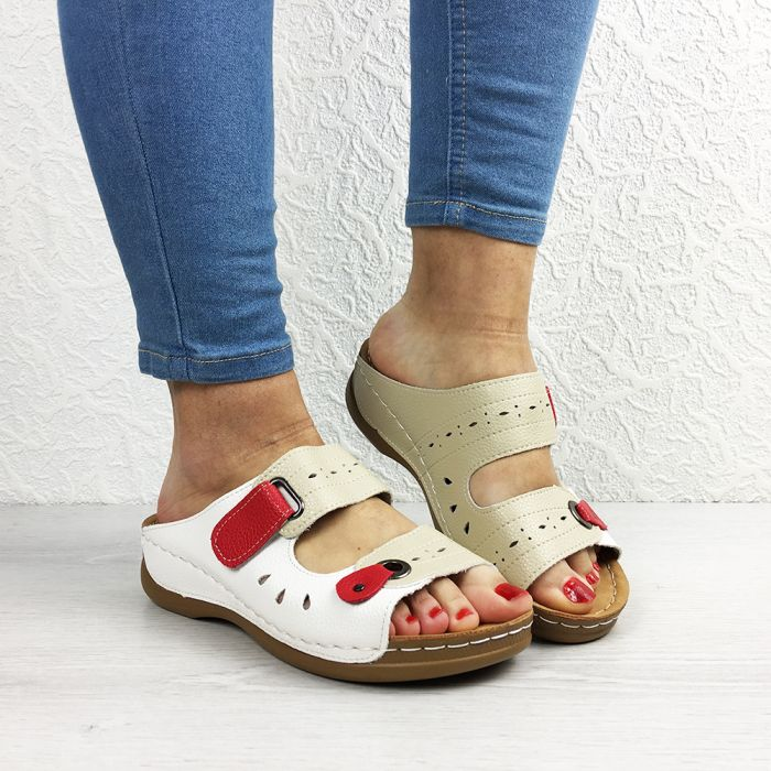 Papuci dama Simona Beige