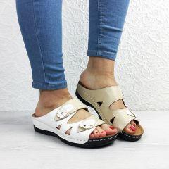 Papuci dama Iuliana Beige/White