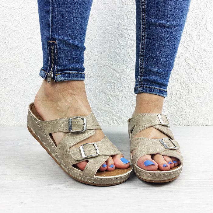 Papuci dama Marga Beige