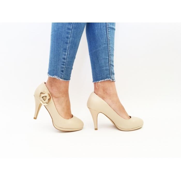 Pantofi cu toc Deona Beige