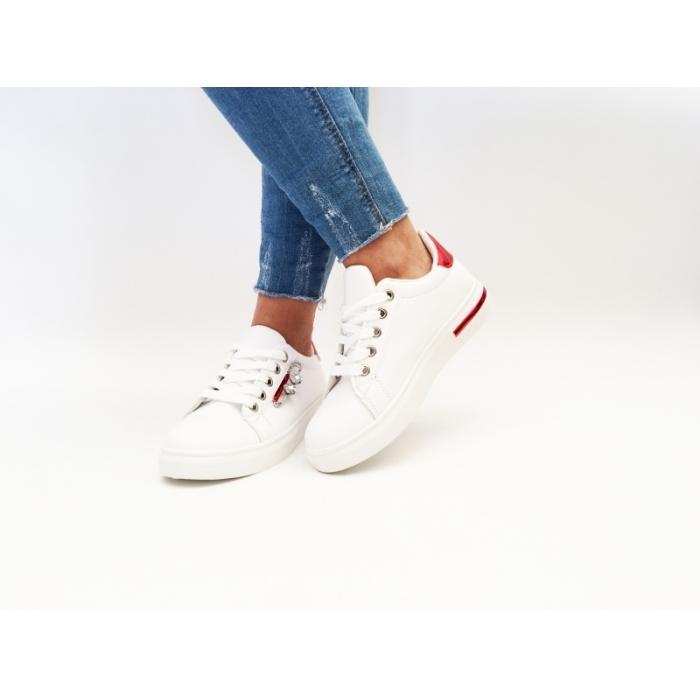 Pantofi Casual Sune White/Red