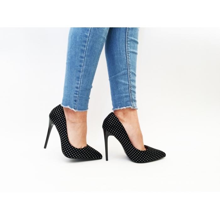 Pantofi cu toc Dots Black/Silver